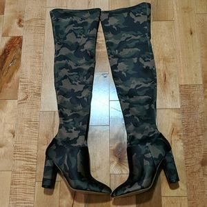 Aldo thigh high boots. Camo. Rare. Never worn